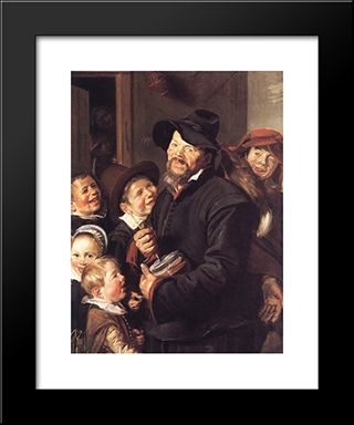 The Rommel Pot Player: Modern Custom Black Framed Art Print by Frans Hals
