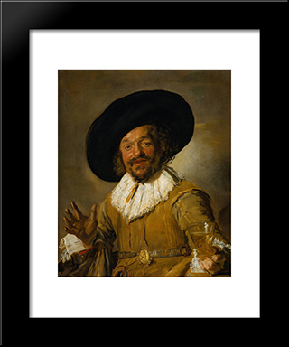 The Merry Drinker: Modern Custom Black Framed Art Print by Frans Hals