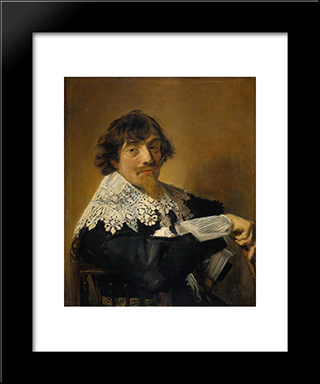 Portrait Of A Man, Possibly Nicolaes Hasselaer: Modern Custom Black Framed Art Print by Frans Hals
