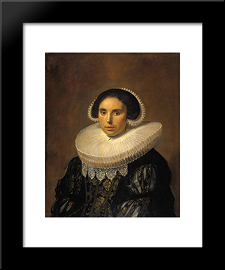 Portrait Of A Woman, Possibly Sara Wolphaerts Van Diemen: Modern Custom Black Framed Art Print by Frans Hals