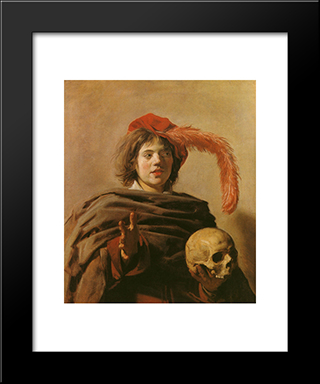 Boy With A Skull: Modern Custom Black Framed Art Print by Frans Hals