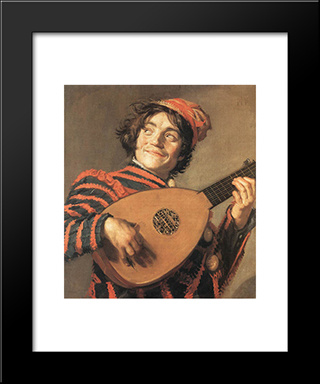 Buffoon Playing A Lute: Modern Custom Black Framed Art Print by Frans Hals