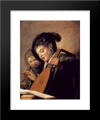 Two Boys Singing: Modern Custom Black Framed Art Print by Frans Hals