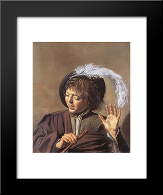 Singing Boy With A Flute: Modern Custom Black Framed Art Print by Frans Hals
