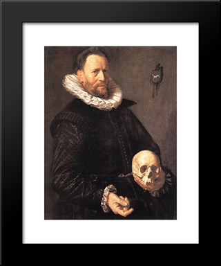 Portrait Of A Man Holding A Skull: Modern Custom Black Framed Art Print by Frans Hals