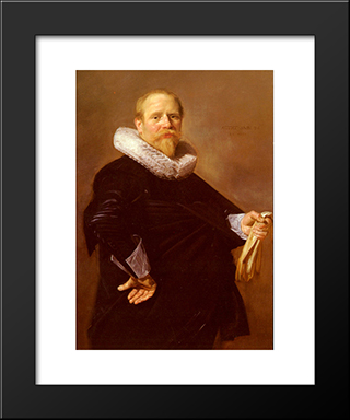 Portrait Of A Man: Modern Custom Black Framed Art Print by Frans Hals