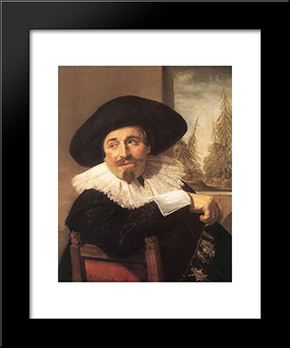 Isaac Abrahamsz Massa: Modern Custom Black Framed Art Print by Frans Hals