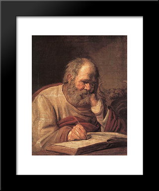 St Luke: Modern Custom Black Framed Art Print by Frans Hals