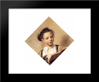 Singing Girl: Modern Custom Black Framed Art Print by Frans Hals
