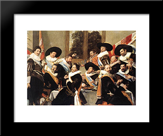 Banquet Of The Officers Of The St George Civic Guard Company: Modern Custom Black Framed Art Print by Frans Hals