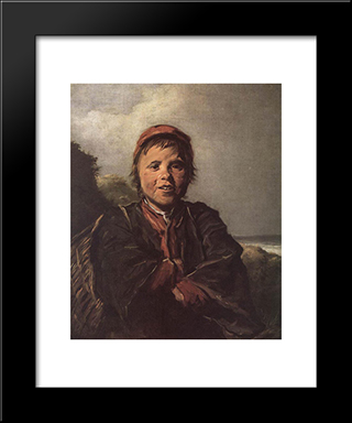 The Fisher Boy: Modern Custom Black Framed Art Print by Frans Hals