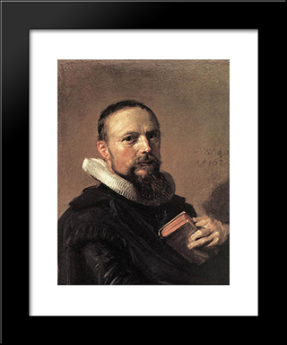 Samuel Ampzing: Modern Custom Black Framed Art Print by Frans Hals