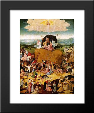 Haywain, Central Panel Of The Triptych: Modern Custom Black Framed Art Print by Hieronymus Bosch