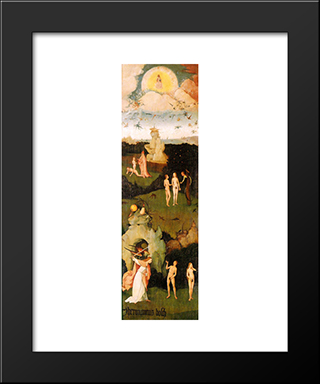 Haywain, Left Wing Of The Triptych: Modern Custom Black Framed Art Print by Hieronymus Bosch