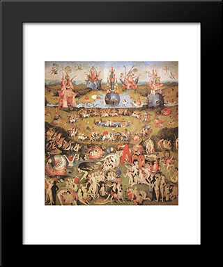Garden Of Earthly Delights, Central Panel Of The Triptych: Modern Custom Black Framed Art Print by Hieronymus Bosch