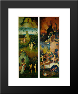 Paradise And Hell, Left And Right Panels Of A Triptych: Modern Custom Black Framed Art Print by Hieronymus Bosch