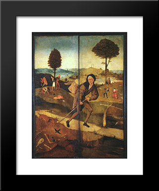 The Path Of Life, Outer Wings Of A Triptych: Modern Custom Black Framed Art Print by Hieronymus Bosch