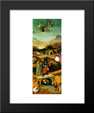 Temptation Of St. Anthony, Left Wing Of The Triptych: Modern Custom Black Framed Art Print by Hieronymus Bosch