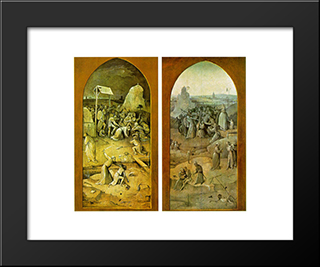 Temptation Of St. Anthony, Outer Wings Of The Triptych: Modern Custom Black Framed Art Print by Hieronymus Bosch