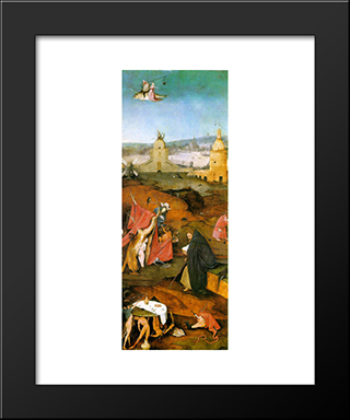 Temptation Of St. Anthony, Right Wing Of The Triptych: Modern Custom Black Framed Art Print by Hieronymus Bosch