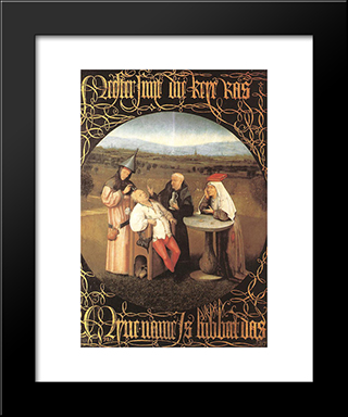 The Cure Of Folly: Modern Custom Black Framed Art Print by Hieronymus Bosch