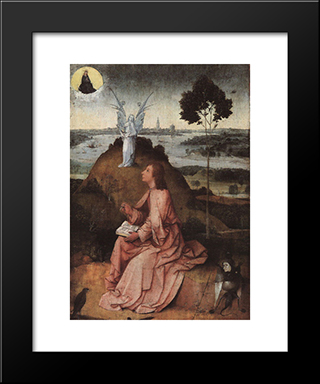 St. John On Patmos: Modern Custom Black Framed Art Print by Hieronymus Bosch