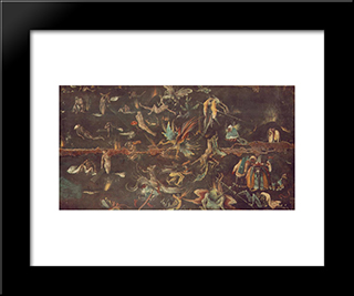 Last Judgement (Fragment): Modern Custom Black Framed Art Print by Hieronymus Bosch