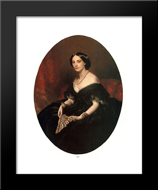 Portrait Of A Lady: Modern Custom Black Framed Art Print by Franz Xaver Winterhalter