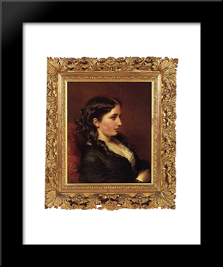 Study Of A Girl In Profile: Modern Custom Black Framed Art Print by Franz Xaver Winterhalter