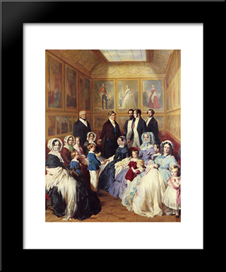 Queen Victoria And Prince Albert With The Family Of King Louis Philippe At The Chateau D'Eu: Modern Custom Black Framed Art Print by Franz Xaver Winterhalter