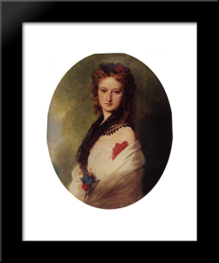 Zofia Potocka, Countess Zamoyska: Modern Custom Black Framed Art Print by Franz Xaver Winterhalter