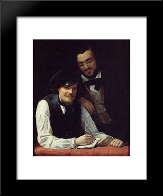 Self Portrait Of The Artist With His Brother, Hermann: Modern Custom Black Framed Art Print by Franz Xaver Winterhalter