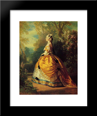 The Empress Eugenie A La Marie'Antoinette: Modern Custom Black Framed Art Print by Franz Xaver Winterhalter