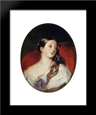 Queen Victoria: Modern Custom Black Framed Art Print by Franz Xaver Winterhalter