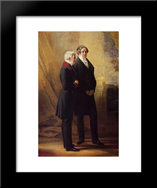 Arthur Wellesley, 1St Duke Of Wellington With Sir Robert Peel: Modern Custom Black Framed Art Print by Franz Xaver Winterhalter