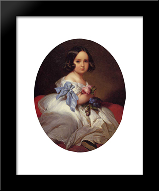 Princess Charlotte Of Belgium: Modern Custom Black Framed Art Print by Franz Xaver Winterhalter