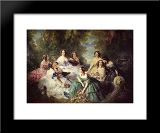 The Empress Eugenie Surrounded By Her Ladies In Waiting: Modern Custom Black Framed Art Print by Franz Xaver Winterhalter