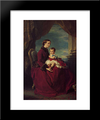 The Empress Eugenie Holding Louis Napoleon, The Prince Imperial On Her Knees: Modern Custom Black Framed Art Print by Franz Xaver Winterhalter