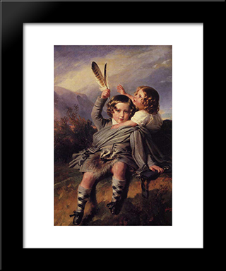 Prince Alfred And Princess Helena: Modern Custom Black Framed Art Print by Franz Xaver Winterhalter