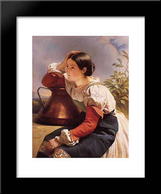 Young Italian Girl By The Well: Modern Custom Black Framed Art Print by Franz Xaver Winterhalter