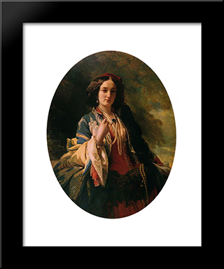 Katarzyna Branicka, Countess Potocka: Modern Custom Black Framed Art Print by Franz Xaver Winterhalter