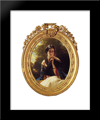Princess Leonilla Of Sayn Wittgenstein'Sayn: Modern Custom Black Framed Art Print by Franz Xaver Winterhalter