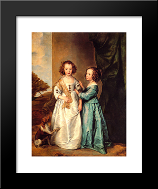 Philadelphia And Elizabeth Wharton: Modern Custom Black Framed Art Print by Anthony van Dyck