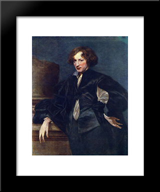 Self'Portrait: Modern Custom Black Framed Art Print by Anthony van Dyck