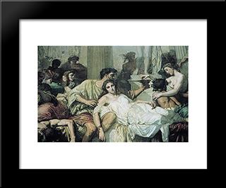 The Romans Of The Decadence [Detail]: Modern Custom Black Framed Art Print by Thomas Couture