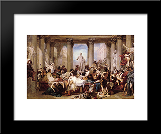 The Romans Of The Decadence: Modern Custom Black Framed Art Print by Thomas Couture