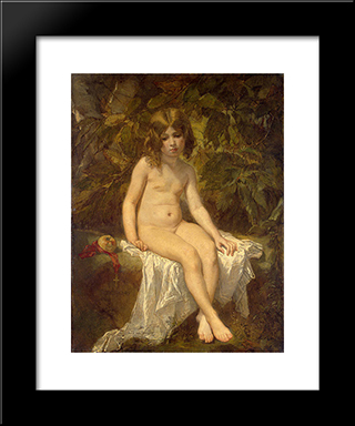 The Little Bather: Modern Custom Black Framed Art Print by Thomas Couture