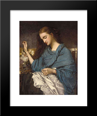 Young Woman Sewing: Modern Custom Black Framed Art Print by Thomas Couture