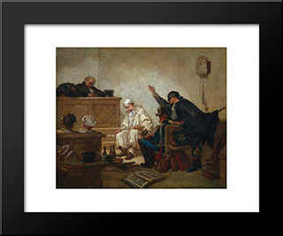 Pierrot In Criminal Court: Modern Custom Black Framed Art Print by Thomas Couture