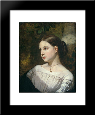 Portrait Of A Girl: Modern Custom Black Framed Art Print by Thomas Couture
